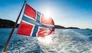 Norwegian flag on a boat at sea
