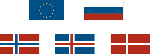 Flags: Norway, Iceland, EU, Denmark and Russia