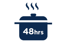 Infographic showing a pot with the number 48hrs