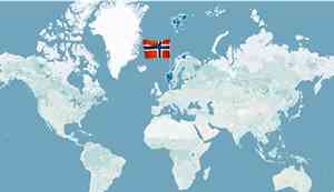 World map with Norway highlighted
